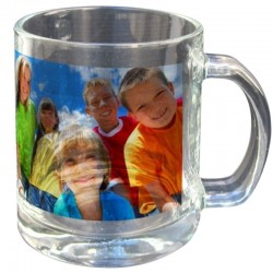 Mug en verre transparent a personnaliser avec photo perso ou logo